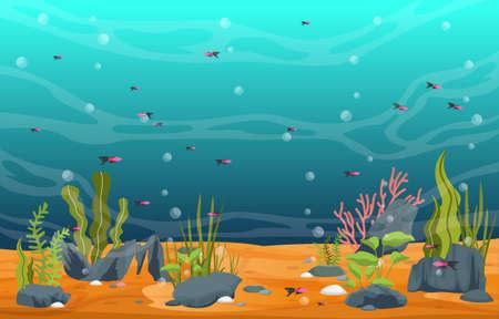 Illustration pour Beautiful Aquarium Fish Colorful Reef Water Plant Illustration - image libre de droit