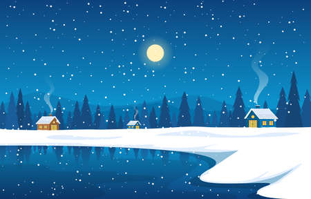 Illustration pour Winter Snow Pine Mountain House Lake Nature Landscape Illustration - image libre de droit