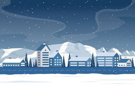 Illustration pour Winter Snow Pine Mountain Snowfall Rural House Landscape Illustration - image libre de droit