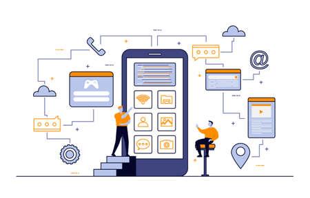 Illustration pour Programmer Thinking Mobile App Development Process Flat Design Illustration - image libre de droit
