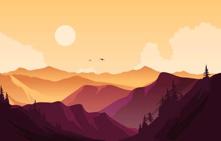 Illustration pour Beautiful Pine Forest Mountain Panorama Landscape Flat Illustration - image libre de droit