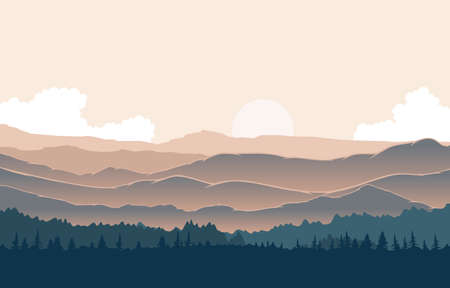 Illustration pour Peaceful Mountain Panorama Landscape in Monochromatic Flat Illustration - image libre de droit