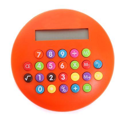an orange calculator on the white background