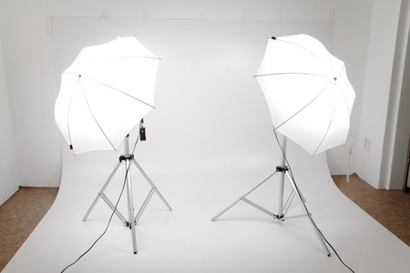 small photo studio with two lights