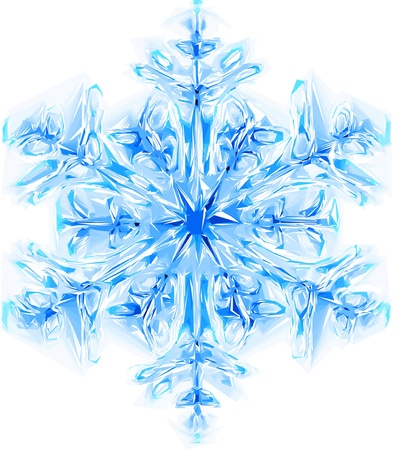 nice blue snowflake isolated on the white background