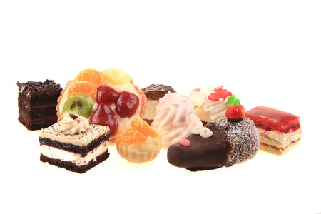 sweet desserts isolated on the white background