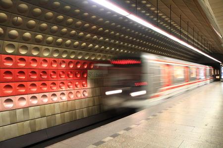 Prague subway station as nice transportation background