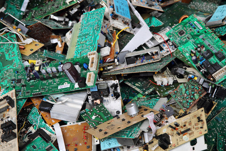 Photo pour electronic circuits garbage as background from recycle industry - image libre de droit