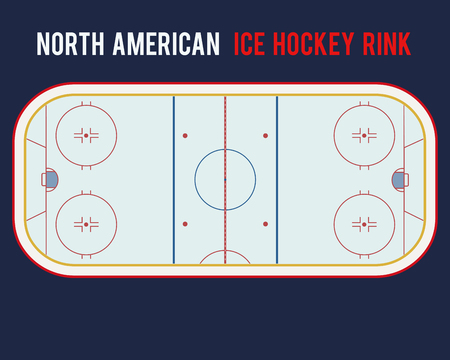 Illustration pour North American ice hockey rink isolated on the blue background. Top view illustration - image libre de droit