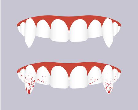 Illustration pour Vampire teeth with bloody fangs. Vector illustration - image libre de droit