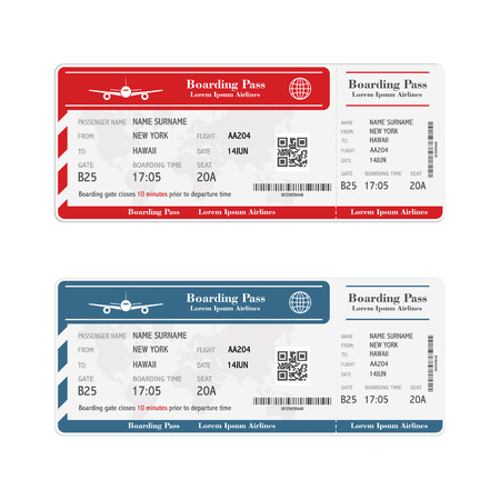 Illustration for Set of the airline boarding pass tickets isolated on white - Royalty Free Image