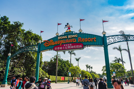Photo for Entrance gate of Hong Kong Disneyland resort, landmark and popular for tourist attraction; Hong Kong, China,17 December 2018 - Royalty Free Image