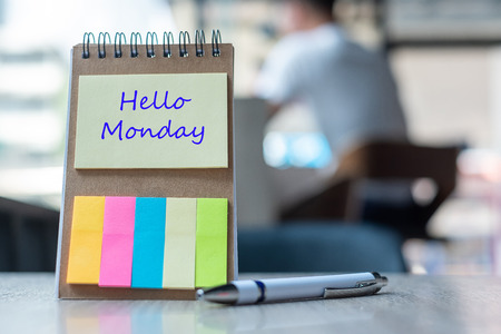 Photo for Hello Monday text on note paper or empty reminder template on wooden table. New Goal New Start concept - Royalty Free Image