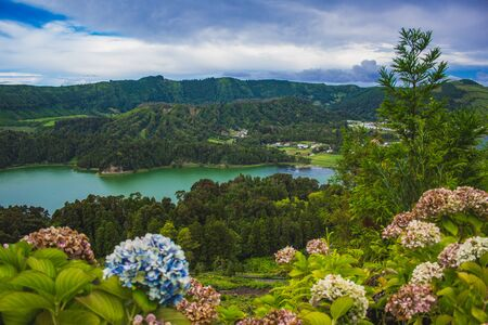Photo for View over Sete Cidades Lakes on a cloudy day, Sao Miguel Island, Azores, Portugal - Royalty Free Image