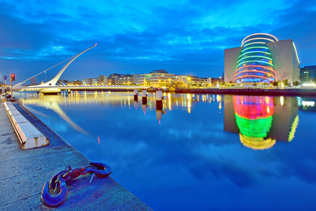 Samuel Beckett Bridge in Dublin at night