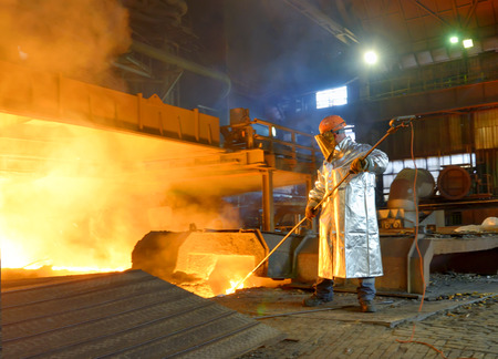 Photo for Industrial worker in steel making factory - Royalty Free Image