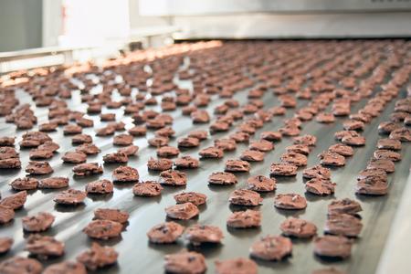 Photo pour Production line of baking chocolate cookies - image libre de droit
