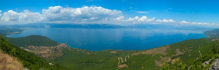 Beautifull panorama view from tha National Park Galicica at Ohrid lake, located in Macedonia