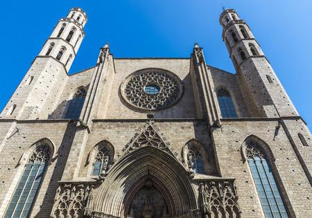 Front facade Santa Maria del Mar church in Barcelona