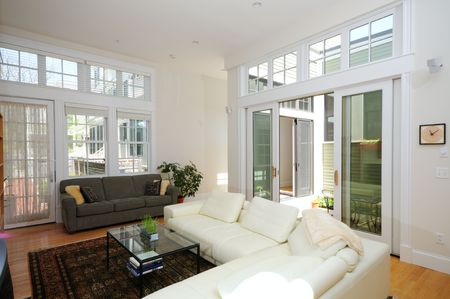 Foto de Modern home interior. Open plan living room and atrium. - Imagen libre de derechos