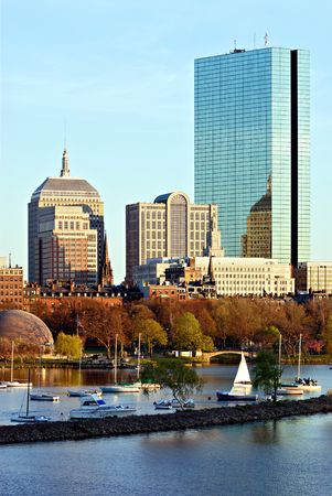 Office buildings and sailboats in Boston, Massachusetts