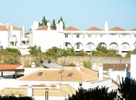 Typical white buildings in Algarve Portugal