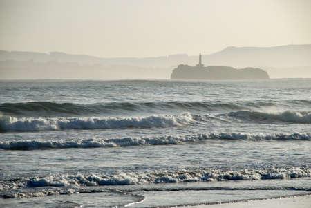Mouro Island  from Santander beach  Spain