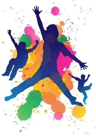 Young boys jumping against a paint splatter background
