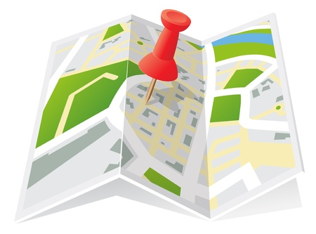 Trifold Town Map with Push Pin