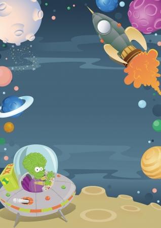 Cartoon Space Border