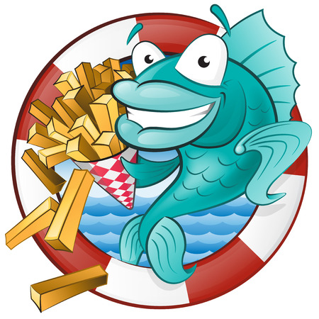 Great illustration of a Cute Cartoon Cod Fish eating a tasty Traditional British portion of chips