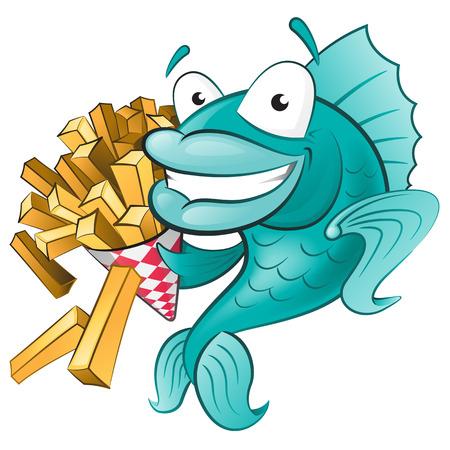 Cartoon Fish and Chips