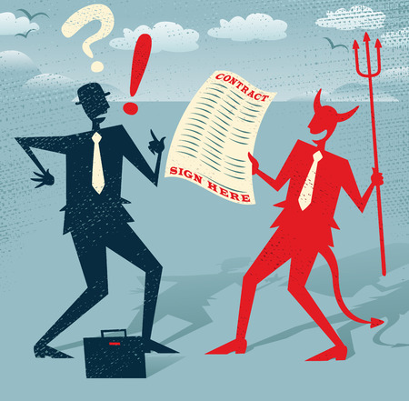 Abstract Businessman signs a Deal with the Devil. Great illustration of Retro styled Abstract Businessman who is deciding wether to sign away his life in a deal with the devil.