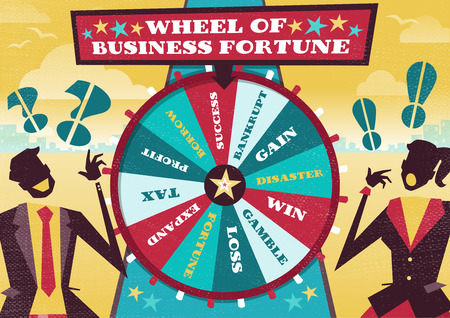 Great illustration of Retro styled Business rivals gambling their financial futures on the big spinning Wheel of Business Fortune hoping to win first place in the business world.