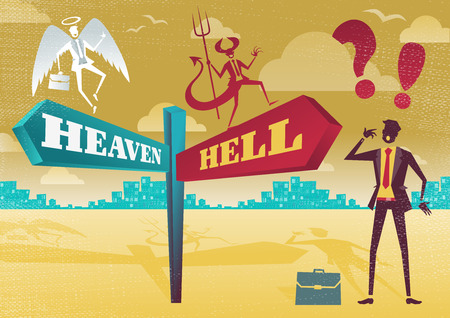 Great illustration of Retro styled Businessman with a selection of Business Morality related options with the theme of the Heaven and Hell and choices to make.