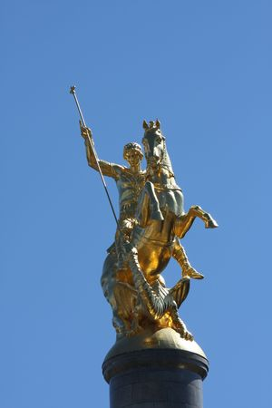 Golden statue of Saint George slaying the dragon, in the capital Tbilisi of the Caucasian republic of Georgia.