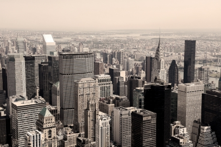 Skyline of Manhattan in New York City, United States (Sepia image)