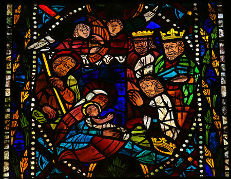 Photo for Stained glass window depicting a Nativity Scene with the Three Magi from the East in the cathedral of Leon, Castille and Leon, Spain. - Royalty Free Image