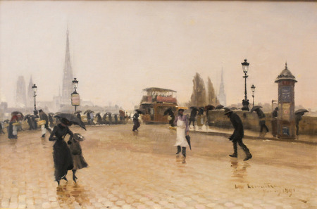 ROUEN, FRANCE - FEBRUARY 10, 2013: Painting depicting the Pont Corneille in Rouen, in the Museum of Rouen, France. This painting was created by Leon Jules Lemaitre and finished in 1891, no property release is required.