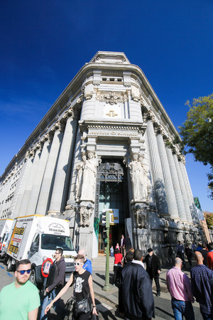 MADRID, SPAIN - NOVEMBER 14, 2015: Instituto Cervantes headquarters at the Calle de Alcala in the center of Madrid, Spain. The Cervantes Institute is the largest organization in the world responsible for promoting the study and the teaching of Spanish lan