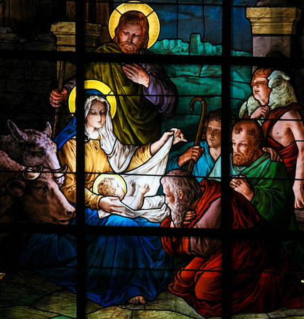 Photo pour Nativity Scene at Christmas. Stained glass window in the German Church in Gamla Stan in Stockholm. - image libre de droit