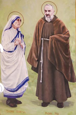 Fresco in the Church of Saint Nicholas in Valencia, Spain, of Padre Pio or Saint Pio of Pietrelcina and Mother Teresa or Saint Teresa of Calcutta