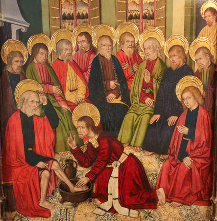 Photo for Painting of Jesus Christ washing the Feet of the Apostles at the Last Supper, in the Church of Valencia, Spain - Royalty Free Image