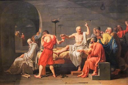 Photo pour The Death of Socrates (French: La Mort de Socrate) is an oil on canvas painted by French painter Jacques-Louis David in 1787. - image libre de droit