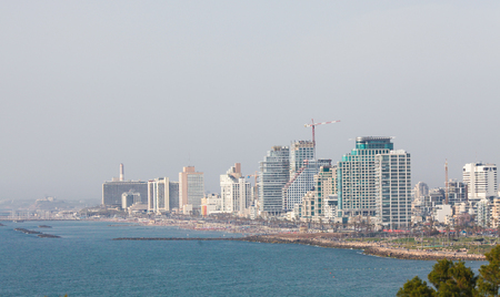 Photo pour View on the skyline of Tel Aviv, Israel, by the Mediterranean Coast as seen from Jaffa - image libre de droit