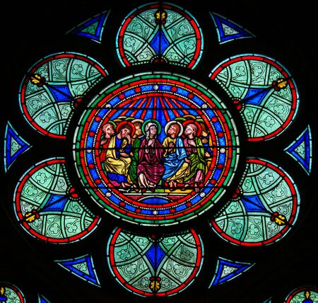 Photo pour Stained Glass in the Cathedral of Notre Dame, Paris, France, depicting Mother Mary and the Disciples at Pentecost - image libre de droit