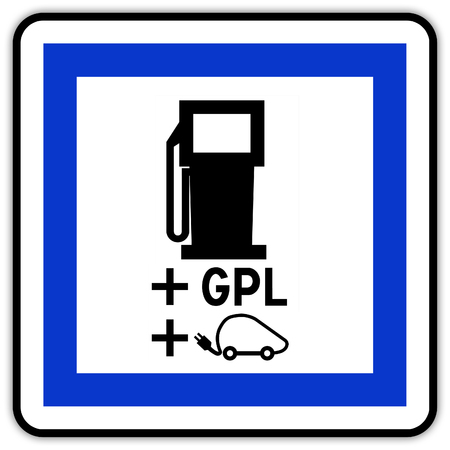 Road sign in France: electric station charger and GPL plug