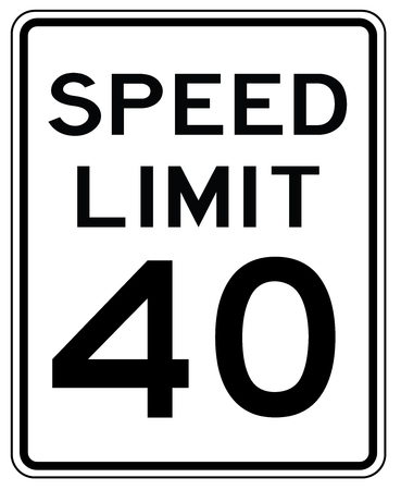 Illustration pour American road sign in the United States: speed limited to 40 mp / h - speed limit to forty miles per hour - image libre de droit