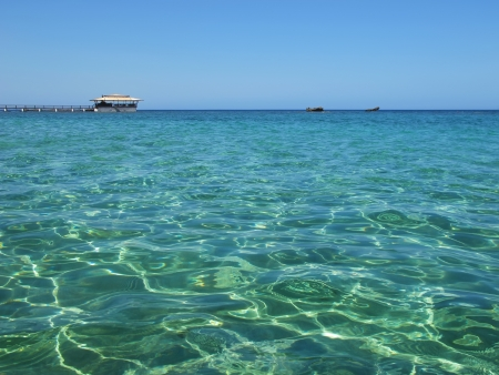 Caribbean sea with cloudless sky