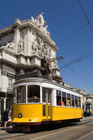 Typical Tram in Commerce Square, Lisbon, Portugal
